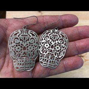Sugar skulls Day of the dead silver earrings pair